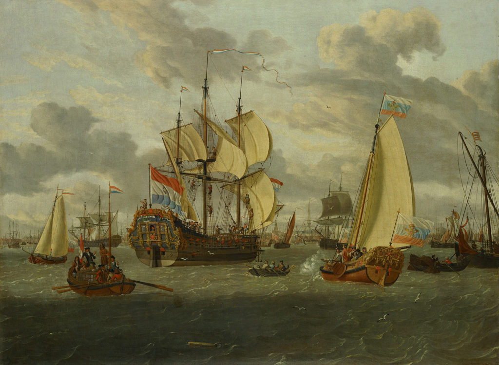 Abraham Storck, Tsar Peter the Great on board his yacht, heading toward the frigate Pieter en Paul, c. 1698